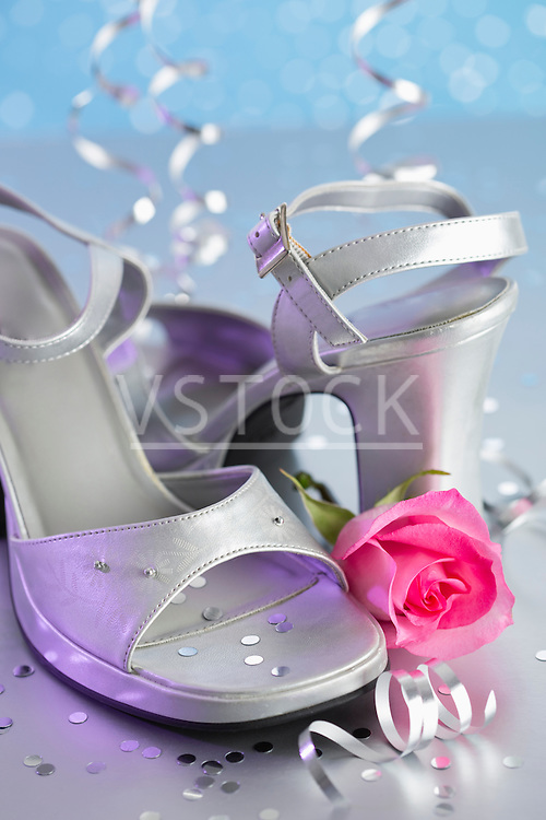 View of high heels and pink rose