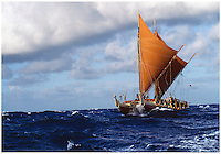 Polynesian voyaging canoe Hokule'a in the Ka Iwi Channel off the coast of O'ahu. Contact PRH for permission to use this photo.