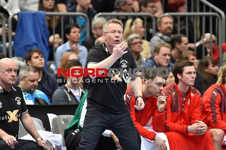 02.04.2016, LANXESS arena, K&ouml;ln , GER, Handball DHB Testl&auml;nderspiel,   Deutschland (GER) vs. D&auml;nemark ( DK) <br /> <br /> im Bild / picture shows: <br /> GUDMUNDUR GUDMUNDSSON Trainer ( D&auml;nemark/Daenemark) regt sich auf <br /> <br /> <br /> <br /> <br /> Foto &copy; nordphoto / meuter