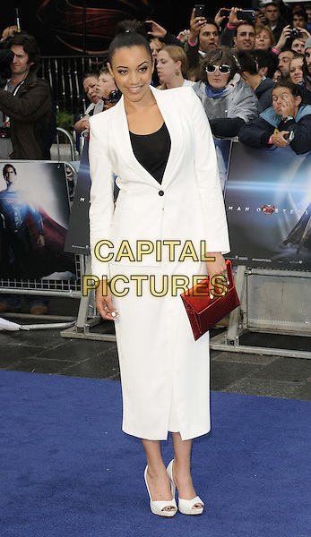 Amal Fashanu<br /> 'Man Of Steel' UK film premiere, Empire cinema, Leicester Square, London, England.<br /> 12th June 2013<br /> full length  black top white suit blazer trousers cropped red clutch bag<br /> CAP/CAN<br /> &copy;Can Nguyen/Capital Pictures