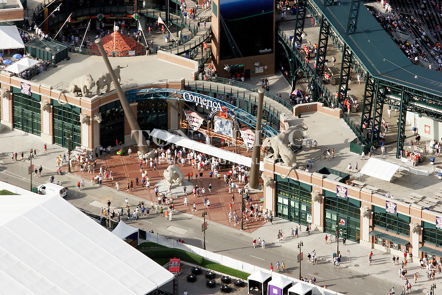 "Fans line up to enter Comerica Park in this aerial view taken from on board the Akron, Ohio based ""Spirit of Goodyear"" airship on Monday, July 11, 2005 before the start of the 2005 Major League Baseball All-Stars Home-run Derby. (AP Photo/Tony Ding)."