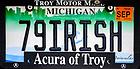 """June 1, 2019; Michigan license plate """"79IRISH""""  (Photo by Matt Cashore/University of Notre Dame)"""