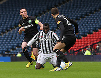 Esmael Goncalves fouled from behind by Scott Brown with Adam Matthews lurking in the St Mirren v Celtic Scottish Communities League Cup Semi Final match played at Hampden Park, Glasgow on 27.1.13.