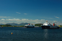 Caledonian MacBrayne Ferry and Mull from Oban<br /> <br /> Copyright www.scottishhorizons.co.uk/Keith Fergus 2011 All Rights Reserved