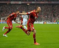 FUSSBALL: Champions League, Halbfinale, Hinspiel, FC Bayern Muenchen - Real Madrid, Muenchen, 17.04.2012.Jubel von Torschuetze Franck Ribery (Bayern).© pixathlon