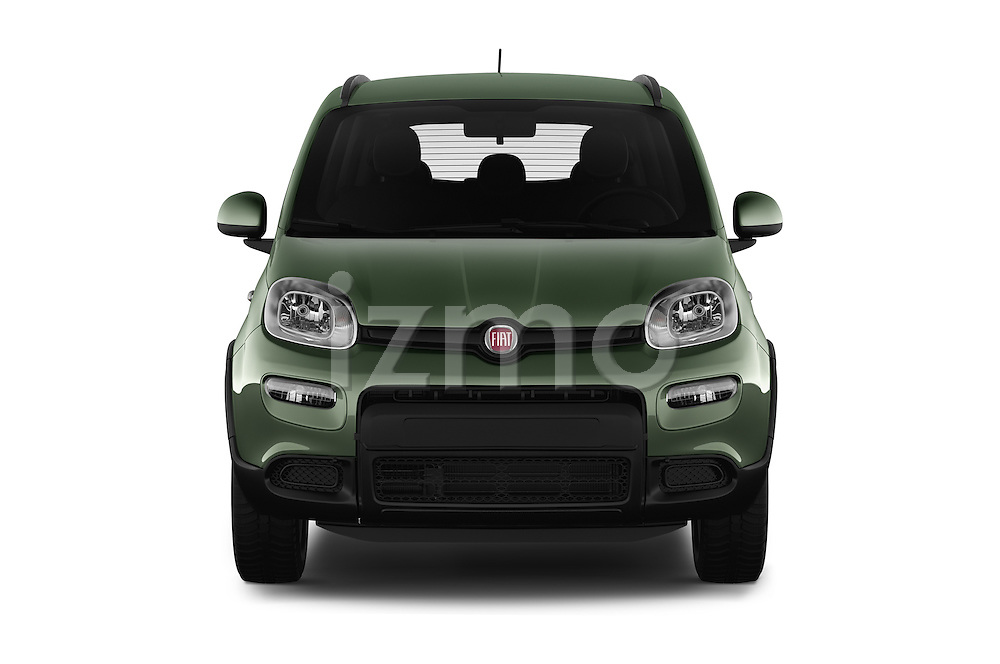 Car photography straight front view of a 2016 Fiat Panda-4X4 Pop 5 Door Hatchback Front View