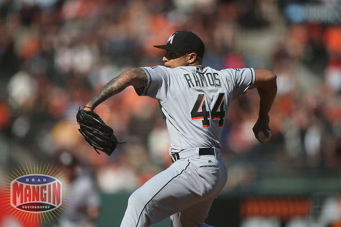 SAN FRANCISCO, CA - JULY 9:  AJ Ramos #44 of the Miami Marlins pitches against the San Francisco Giants during the game at AT&T Park on Sunday, July 9, 2017 in San Francisco, California. (Photo by Brad Mangin)