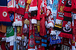 Scarves from various football clubs tied to the Shankly Gates outside the stadium before the 25th anniversary memorial service to the 1989 Hillsborough disaster at Liverpool Football Club's Anfield Stadium. The Hillsborough stadium disaster led to 96 Liverpool football fans losing their lives in a crush at an FA Cup semi final tie against Nottingham Forest. The families of the victims campaigned against the original verdict of the incident and were rewarded with a new inquiry held in 2014 into events at the match at Hillsborough. Photo by Colin McPherson.