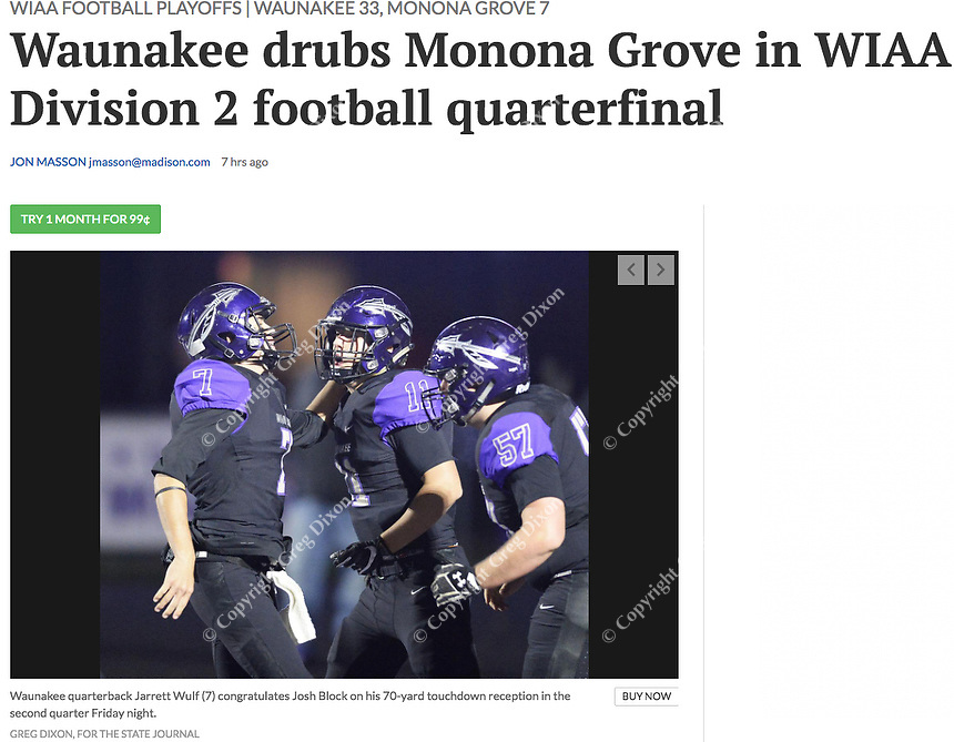Waunakee quarterback, Jarrett Wulf (7) congratulates Josh Block (11) on his touchdown in the second quarter, as Monona Grove takes on Waunakee in Wisconsin WIAA Division 2 state quarterfinal football at Waunakee High School on Friday, 11/2/18 | Wisconsin State Journal article front page Sports 11/3/18 and online at https://madison.com/wsj/sports/high-school/football/waunakee-drubs-monona-grove-in-wiaa-division-football-quarterfinal/article_7b128b65-5305-5581-8ed0-ffdb6430b9b4.html