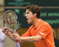 06-03-11, Tennis, Oekraine, Kharkov, Daviscup, Oekraine - Netherlands, Jesse Huta Galung wint de vierde set