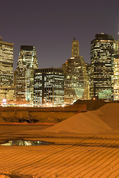 AVAILABLE FROM JEFF AS A FINE ART PRINT.<br /> <br /> AVAILABLE FROM GETTY IMAGES FOR COMMERCIAL AND EDITORIAL LICENSING.  Please go to www.gettyimages.com and search for image # 88696196.<br /> <br /> Lower Manhattan's Financial District Skyline Viewed from a Construction Site in Brooklyn at Night