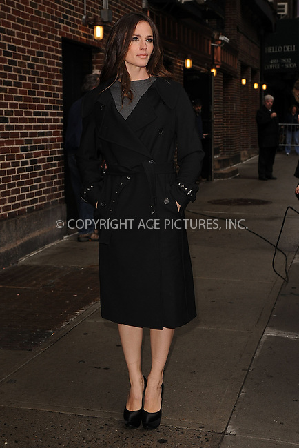 WWW.ACEPIXS.COM . . . . . .April 5, 2011...New York City...Jennifer Garner tapes the Late Show with David Letterman on April 5, 2011 in New York City....Please byline: KRISTIN CALLAHAN - ACEPIXS.COM.. . . . . . ..Ace Pictures, Inc: ..tel: (212) 243 8787 or (646) 769 0430..e-mail: info@acepixs.com..web: http://www.acepixs.com .