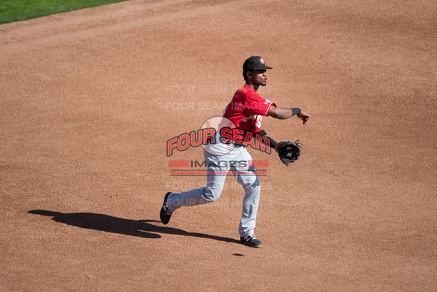 Vancouver Canadians third baseman Otto Lopez (5) throws to first base during a Northwest League game against the Spokane Indians at Avista Stadium on September 2, 2018 in Spokane, Washington. The Spokane Indians defeated the Vancouver Canadians by a score of 3-1. (Zachary Lucy/Four Seam Images)