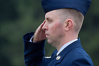 Male US Air Force sergeant in dress uniform, model-released, portrait.