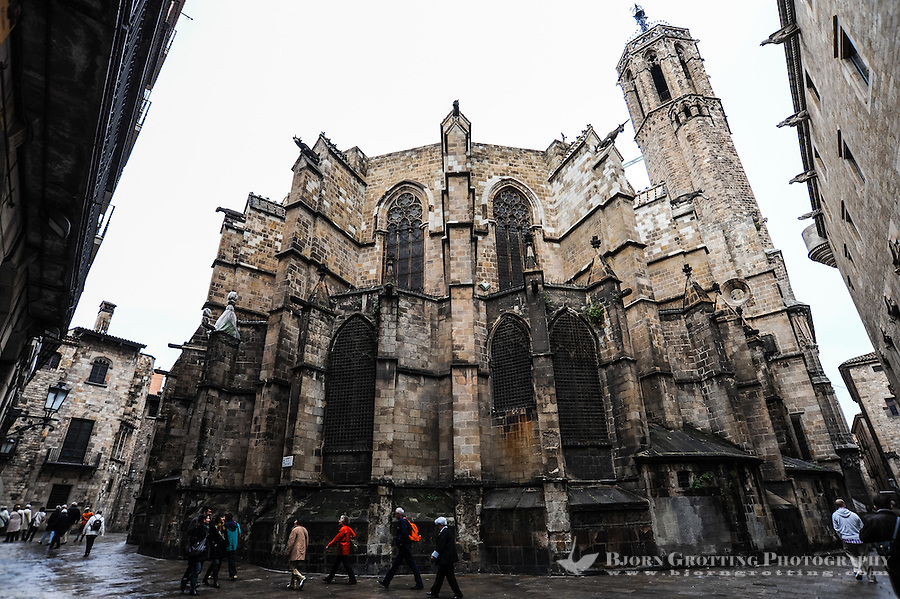 Spain, Barcelona. Barcelona Cathedral in the Barri Gotic area (Gothic Quarter).