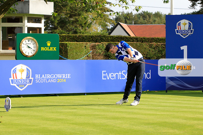 Max Schmitt (GER) on the 1st tee during Day 2 Singles for the Junior Ryder Cup 2014 at Blairgowrie Golf Club on Tuesday 23rd September 2014.<br /> Picture:  Thos Caffrey / www.golffile.ie