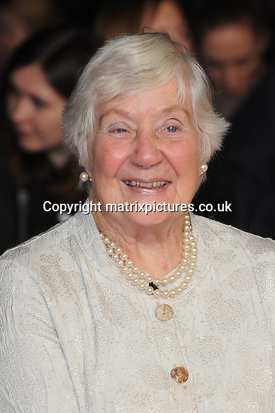 NON EXCLUSIVE PICTURE: PAUL TREADWAY / MATRIXPICTURES.CO.UK<br /> PLEASE CREDIT ALL USES<br /> <br /> WORLD RIGHTS<br /> <br /> British politician Shirley Williams attending the 58th BFI London Film Festival Centrepiece Gala of Testament Of Youth, at Odeon Leicester Square in London.<br /> <br /> OCTOBER 14th 2014<br /> <br /> REF: PTY 144409
