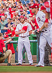 22 May 2015: Philadelphia Phillies pitcher Aaron Barrett partakes in a pre-game stand-off against Washington Nationals pitcher Aaron Barrett (not pictured) prior to a game at Nationals Park in Washington, DC. The Nationals defeated the Phillies 2-1 in the first game of their 3-game weekend series. Mandatory Credit: Ed Wolfstein Photo *** RAW (NEF) Image File Available ***