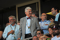 Fans, including MP Peter Dunne, watch the ICC Cricket World Cup one day pool match between the New Zealand Black Caps and England at Wellington Regional Stadium, Wellington, New Zealand on Friday, 20 February 2015. Photo: Dave Lintott / lintottphoto.co.nz