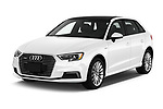 2017 Audi A3 Sportback e tron Premium  5 Door Hatchback angular front stock photos of front three quarter view