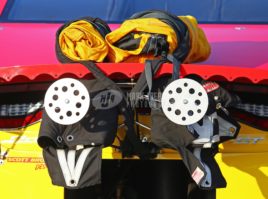 Feb 13, 2016; Pomona, CA, USA; Detailed view of the parachute packs and springs on the car of NHRA pro stock driver Jeg Coughlin Jr during qualifying for the Winternationals at Auto Club Raceway at Pomona. Mandatory Credit: Mark J. Rebilas-USA TODAY Sports