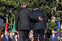 US President Barack Obama (R) and Italian Prime Minister Matteo Renzi (L)participate in an official arrival ceremony on the South Lawn of the White House in Washington DC, USA, 18 October 2016. Later today President Obama and First Lady Michelle Obama will host their final state dinner featuring celebrity chef Mario Batali and singer Gwen Stefani performing after dinner. <br /> Credit: Shawn Thew / Pool via CNP /MediaPunch
