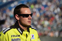 Jun. 29, 2012; Joliet, IL, USA: NHRA crew member for top fuel dragster driver Spencer Massey during qualifying for the Route 66 Nationals at Route 66 Raceway. Mandatory Credit: Mark J. Rebilas-