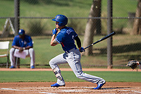 Los Angeles Dodgers outfielder Jeren Kendall (3) follows through on his swing during an Instructional League game against the Chicago White Sox on September 30, 2017 at Camelback Ranch in Glendale, Arizona. (Zachary Lucy/Four Seam Images)