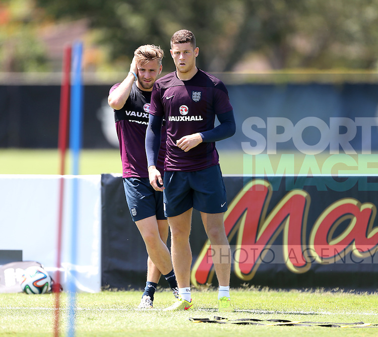 England's Ross Barkley and Luke Shaw in action during training<br /> <br /> England Training &amp; Press Conference  - Barry University - Miami - USA - 06/06/2014  - Pic David Klein/Sportimage