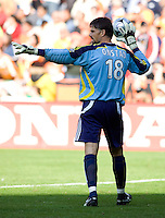 Houston Dynamo goalkeeper (18) Pat Onstad. The Houston Dynamo defeated the New England Revolution 2-1 in the finals of the MLS Cup at RFK Memorial Stadium in Washington, D. C., on November 18, 2007.
