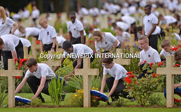01.07.2016; Thiepval, France:  THIEPVAL COMMEMORATIVE EVENT<br /> To Mark The Centenary Of The Battle Of The Somme.<br /> 600 school children from both the UK and France laid wreaths on the graves in remembrance of those who died in the conflict.<br /> Mandatory Photo Credit: &copy;NEWSPIX INTERNATIONAL<br /> <br /> IMMEDIATE CONFIRMATION OF USAGE REQUIRED:<br /> Newspix International, 31 Chinnery Hill, Bishop's Stortford, ENGLAND CM23 3PS<br /> Tel:+441279 324672  ; Fax: +441279656877<br /> Mobile:  07775681153<br /> e-mail: info@newspixinternational.co.uk<br /> Please refer to usage terms. All Fees Payable To Newspix International