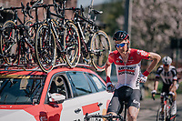 Tim Wellens (BEL/Lotto Soudal) back at the teamcar for provisions<br /> <br /> 82nd Fl&egrave;che Wallonne 2018 (1.UWT)<br /> 1 Day Race: Seraing - Huy (198km)