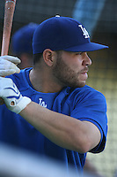Russell Martin of the Los Angeles Dodgers during batting practice before a 2007 MLB season game at Dodger Stadium in Los Angeles, California. (Larry Goren/Four Seam Images)