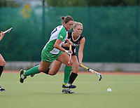 23 June 2013; Gillian Pinder, Ireland, in action against Brienne Stairs, Canada. Electric Ireland Senior Women's International Friendly, Ireland v Canada, Belfield, Dublin. Picture credit: Tommy Grealy/Actionshots.ie