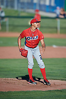 Orem Owlz starting pitcher Jerryell Rivera (1) delivers a pitch to the plate against the Ogden Raptors at Lindquist Field on June 19, 2018 in Ogden, Utah. The Raptors defeated the Owlz 7-2. (Stephen Smith/Four Seam Images)