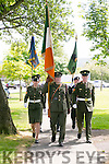 l-r  Lieutenant John Leahy, Sgt Padraig Costello and Sgt Charlotte Divane at the Royal Munster Fusiliers World War I remembrance monument Unveiling in Ballymullen on Saturday