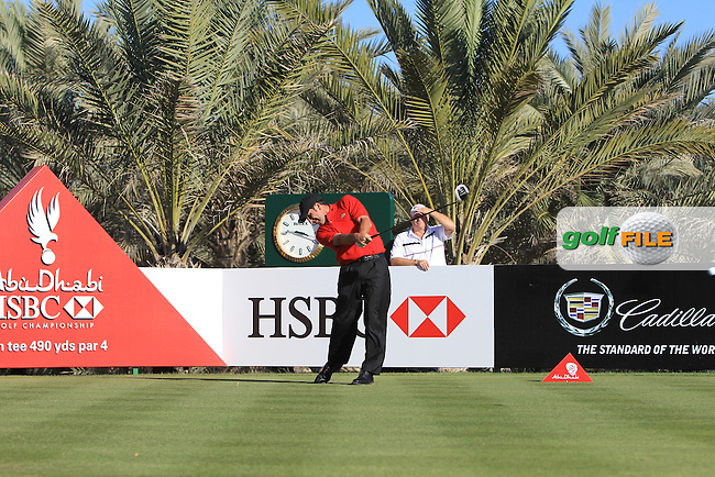 Jose Maria Olazabal (ESP) tees off the 14th tee during Friday's Round 2 of the Abu Dhabi HSBC Golf Championship at Abu Dhabi Golf Club, 18th January 2013 (Photo Eoin Clarke/www.golffile.ie)