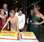 Judy Kaye, Terry Beaver, Kelli O'Hara, Matthew Broderick, Estelle Parsons amnd Jennifer Laura Thompson backstage celebrating the 200th Performance of 'Nice Work if You Can Get It' on Broadway at the Imperial Theatre on October 17, 2012 in New York City.