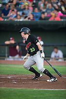 Great Falls Voyagers catcher Gunnar Troutwine (33) starts down the first base line during a Pioneer League game against the Idaho Falls Chukars at Melaleuca Field on August 18, 2018 in Idaho Falls, Idaho. The Idaho Falls Chukars defeated the Great Falls Voyagers by a score of 6-5. (Zachary Lucy/Four Seam Images)