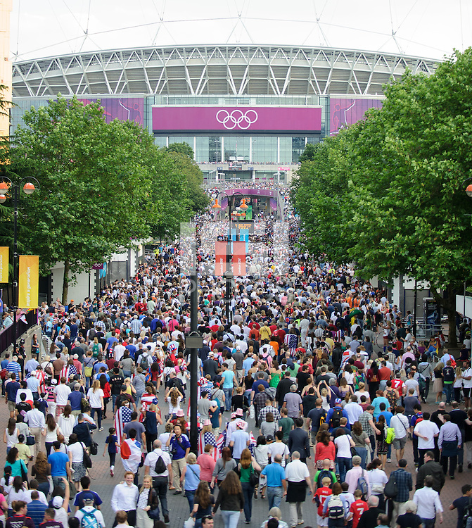 London, England - Thursday, August 9, 2012: The USA defeated Japan 2-1 to win the London 2012 Olympic gold medal at Wembley Arena. Fans stream into Wembley stadium. .