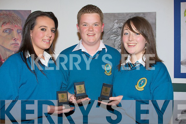 TRANSITION: Poppy Dupraz,Kevin Dowling and Ciara Murphy from Mercy Secondry School Mounthawk, Tralee whit their prizes at the Transition Year students awards on Friday evening at in Siamsa Tire Tralee........................................................................ ........