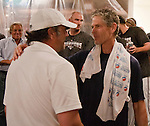 Reno Aces owner Stuart Katzoff, left, and Manager Brett Butler celebrate their win over the Sacramento River Cats on Sunday afternoon, September 9, 2012 in Reno, Nevada.