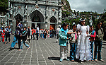 People attend Las Lajas Sanctuary (Santuario de Las Lajas) which is a basilica church located in the southern Department of Nariño and built inside the canyon of the Guáitara River. 1/7/2007. Photo by Joana Toro / VIEWpress.