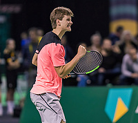 Rotterdam, Netherlands, 10 februari, 2018, Ahoy, Tennis, ABNAMROWTT,  Supermatch semifinal: Alec Deckers (NED)<br /> Photo: Henk Koster/tennisimages.com