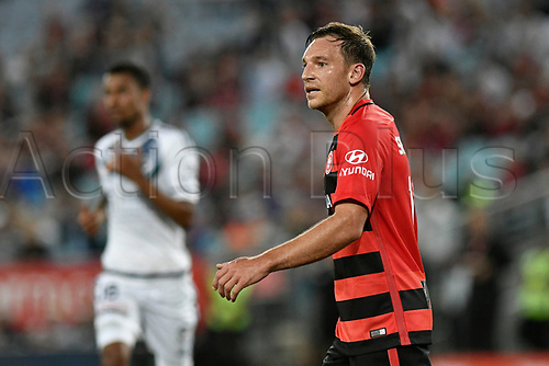 April 8th 2017, ANZ Stadium, Sydney, Australia; A-League football, Western Sydney Wanderers versus Melbourne Victory; no goals for leading scorer Wanderers forward Brendon Santalab tonight; The match  ended in a 0-0 draw;