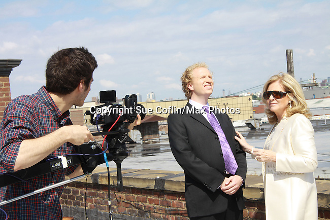 Gianluca Randazzo (Director of Photography), Chris J. Handley and Tina Sloan who star in Empire The Series as it films on set June 3, 2012  in Brooklyn, New York. (Photo by Sue Coflin/Max Photos)