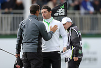 Friday 29th May 2015; Rory McIlroy, Norhern Ireland, finishes this years Irish Open and wishes his friend Rickie Fowler all the best for the weekend<br /> <br /> Dubai Duty Free Irish Open Golf Championship 2015, Round 2 County Down Golf Club, Co. Down. Picture credit: John Dickson / SPORTSFILE