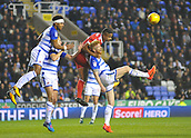 31st October 2017, Madejski Stadium, Reading, England; EFL Championship football, Reading versus Nottingham Forest; Michael Mancienne of Nottingham Forest climbs over Paul McShane of Reading to head the ball