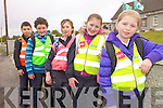 ON THE ROAD: Lyreacrompane national school pupils who took park a walk to school initiative as part of the Green Flag competition on Friday morning, l-r: Jake Shanahan, Edmund Healy, Lucy O'Regan, Aydah Naughton, Ellie Shanahan.