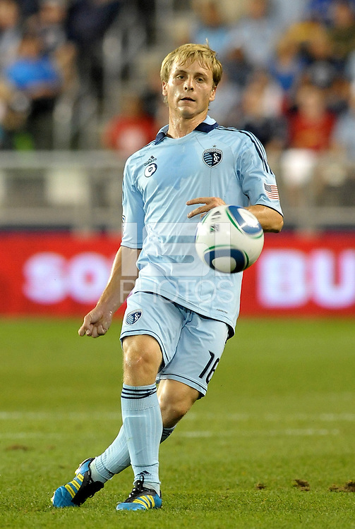 Seth Sinovic (16) defender Sporting KC in action... Sporting Kansas City defeated Columbus Crew 2-1 at LIVESTRONG Sporting Park, Kansas City, Kansas.